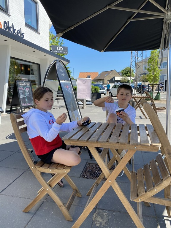 Summer 2020 - eating ice cream at Okkels, our local Italian ice cream cafe (3 min walk)
