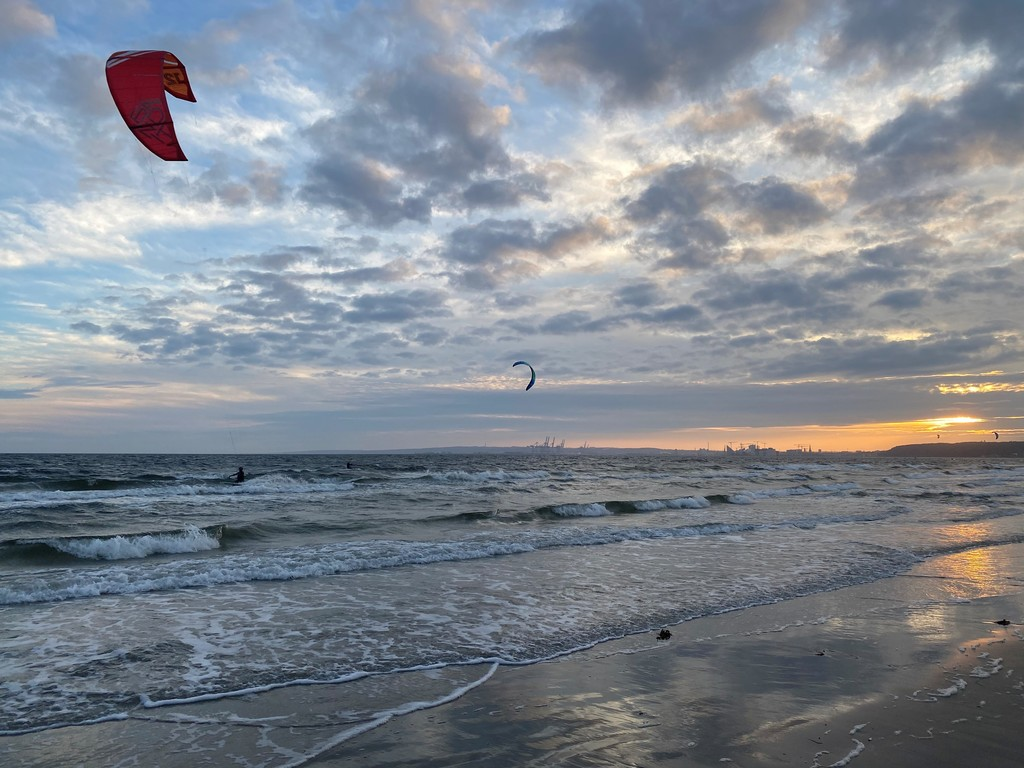 Kitesurfers at our local beach May 2021