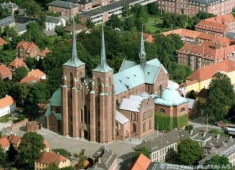 The famous cathedral in Roskilde where kings and queens are buried.