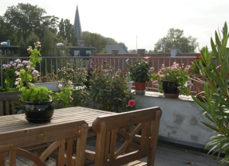 Sunny rooftop terrace with sea view to Øresund and Sweden.