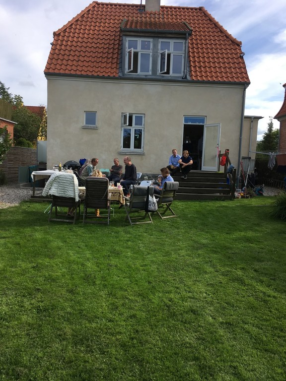 Our house and terasse with family in 2017