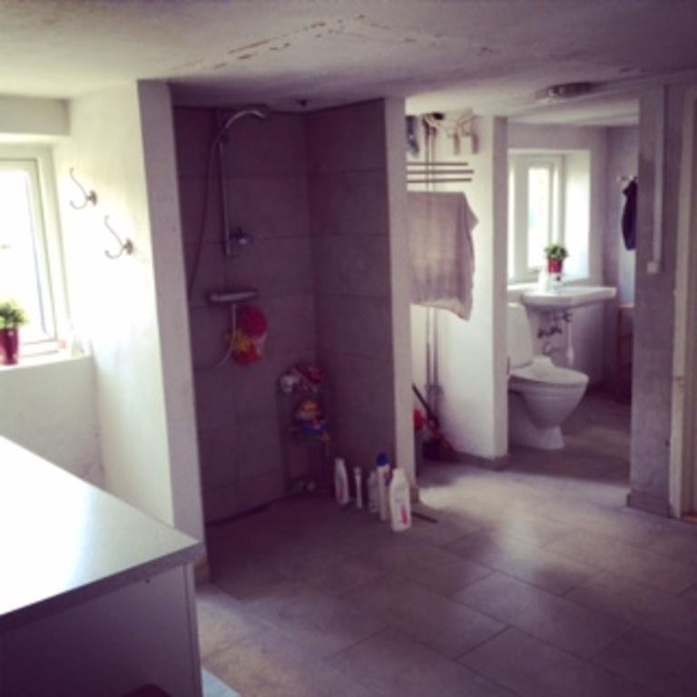 BIG bath/wash/toiletroom in the basement