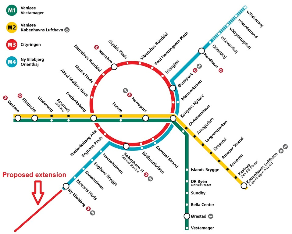 Copenhagen Metroline map our station is Amagerbro 12 min from Airport (Yellow line)