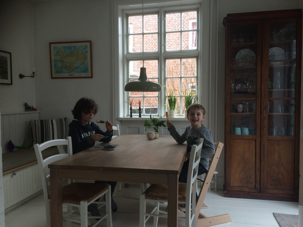 Dining area in the kitchen and the boys enjoying themselves