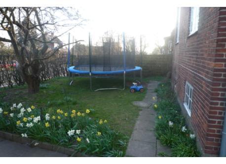 Trampolin in garden