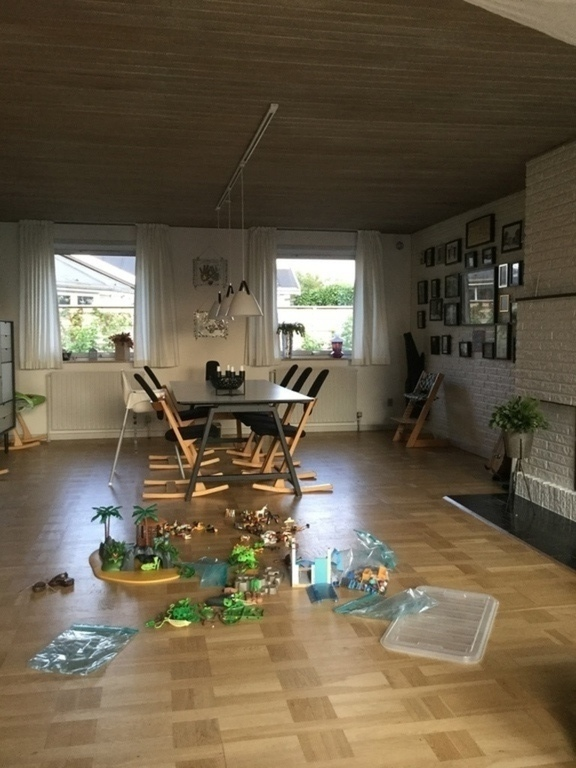 Dining table and playroom