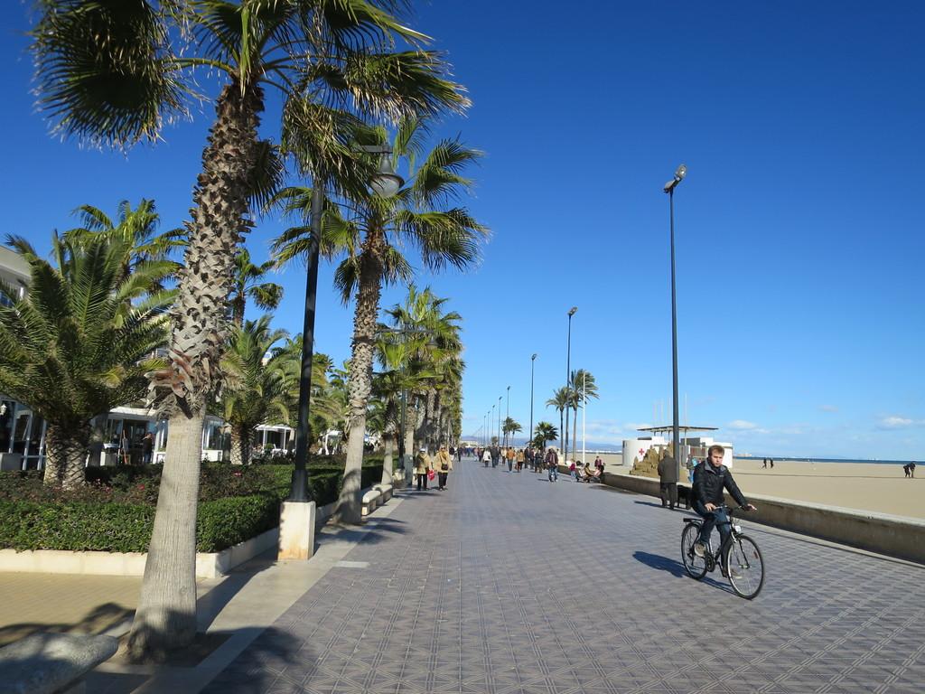 the Maritime Promenade of Valencia, along the beach