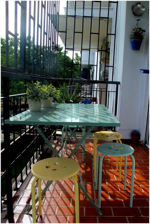 the balcony near the living room