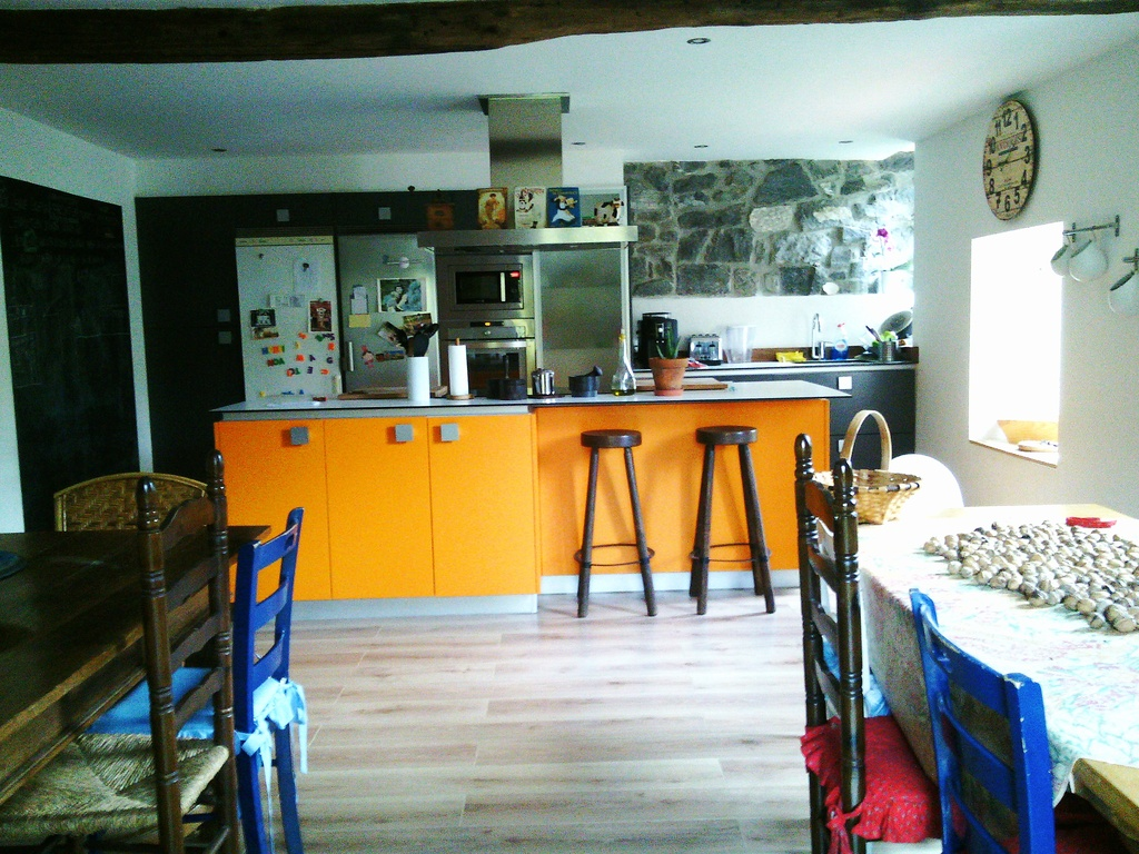Our kitchen and dinning room for twelve persons.