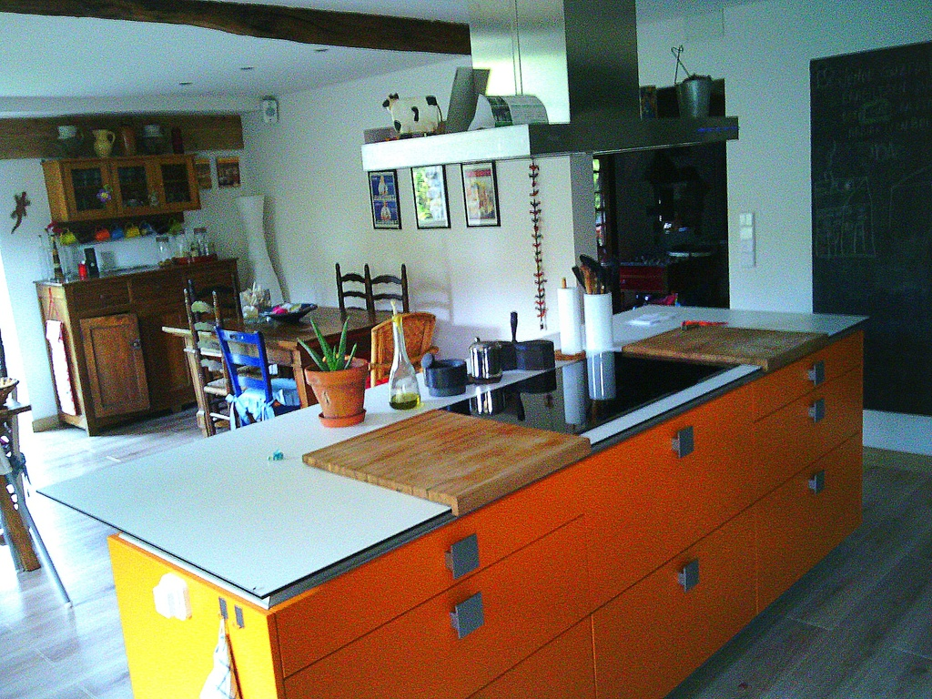 Our orange kitchen.