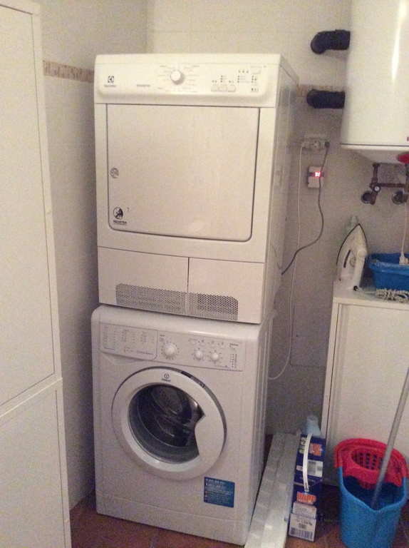 Washing machine and dryer in the toilet