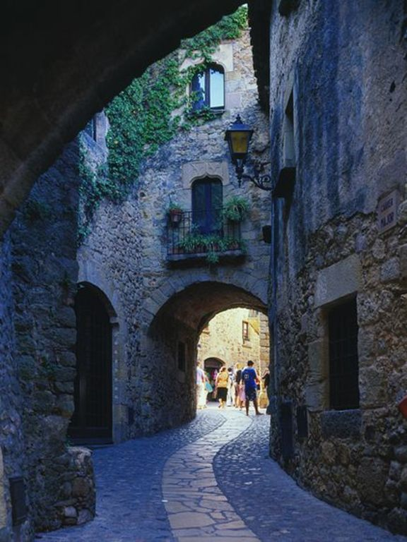 Cobbled streets wind through the medieval town of Pals on the Costa Brava.