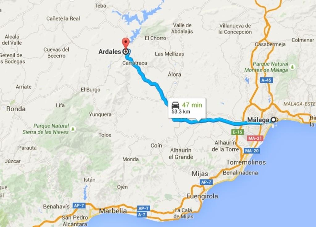 Trayecto a la ciudad de Málaga