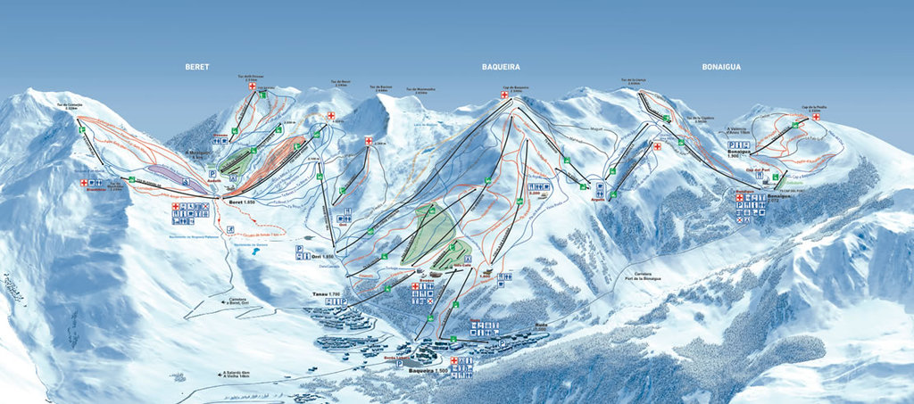 Baqueira-Beret ski resort plan (160 km.)
