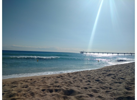 The beach in Badalona (less than 10 minuts by foot)