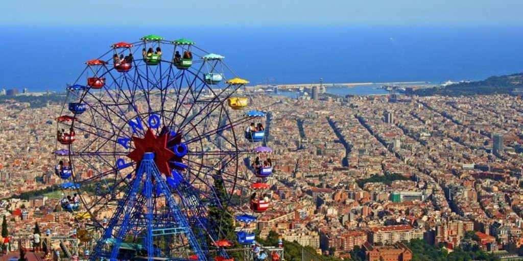 Tibidabo attractions park with wonderful views of Barcelona