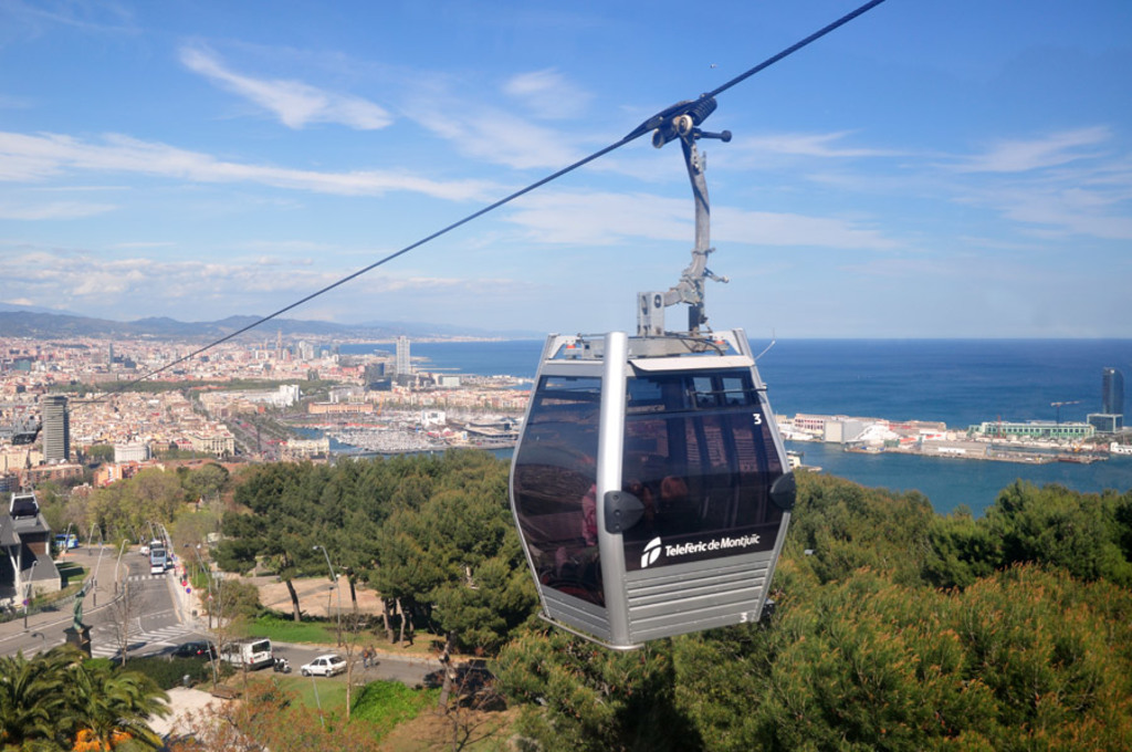 Monjuic cableway near National Art, Joan Miró, Picasso, History and Contemporaneus museums.