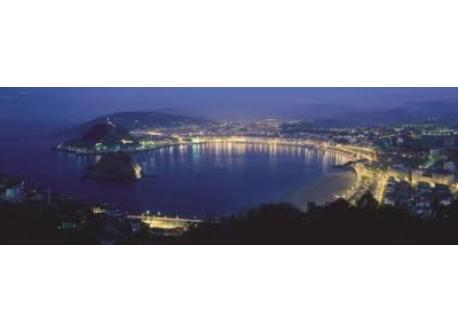 Night view of Donostia