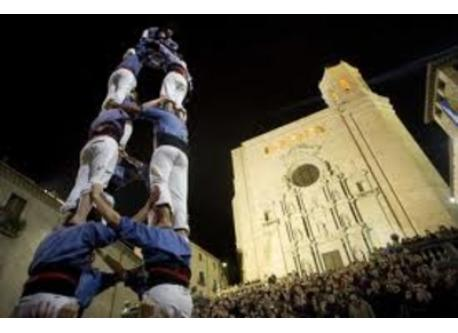 Castellers at Girona's Cathedral