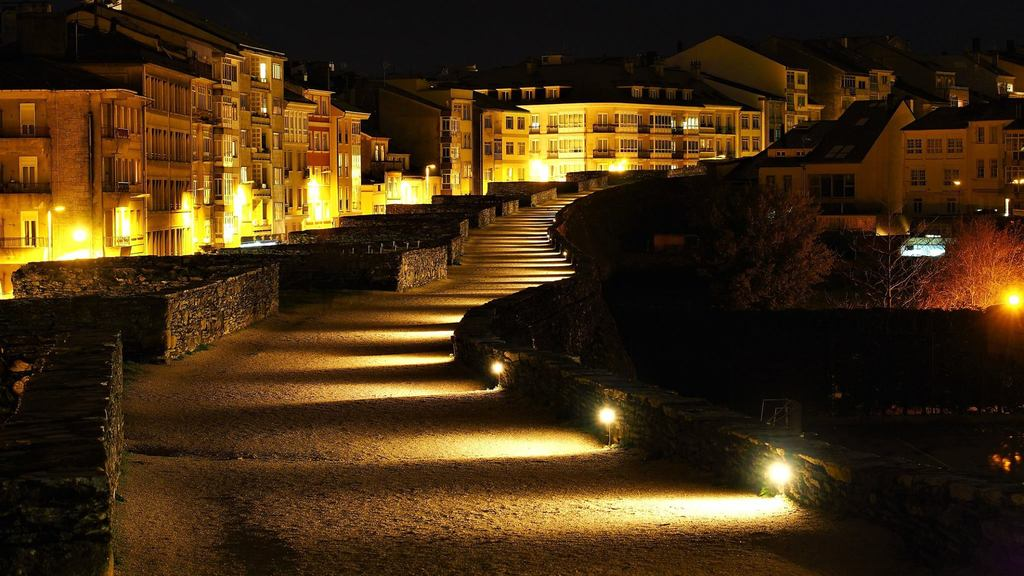 Roman wall at night