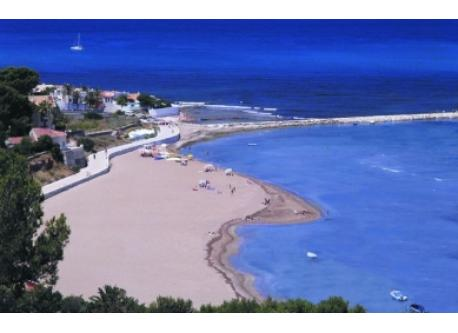 Denia south beach close to the sport nautic club. View from the mountain.