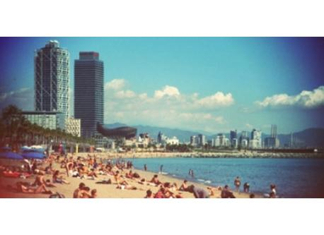 In a few minutes the Barcelona beach