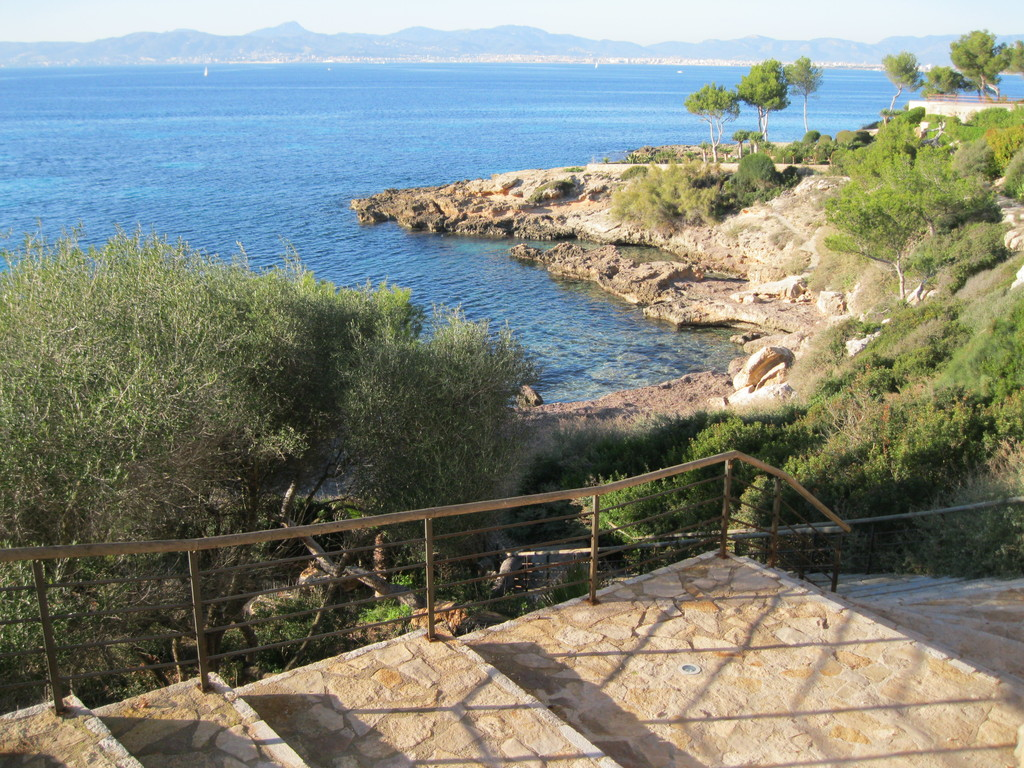 Stairs to the little beach (cala) across the road