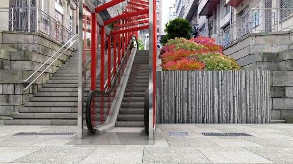 Escaleras mecánicas, en el centro de Vigo