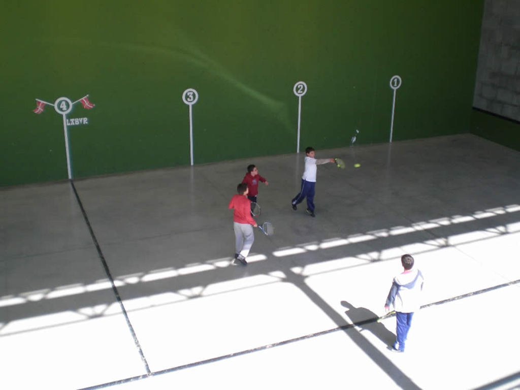 PELOTA COURT  is a two-walled court used as a playing area for Basque pelota.