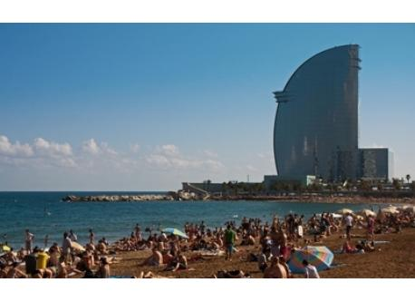 Barcelona beach with Wave Hotel in background