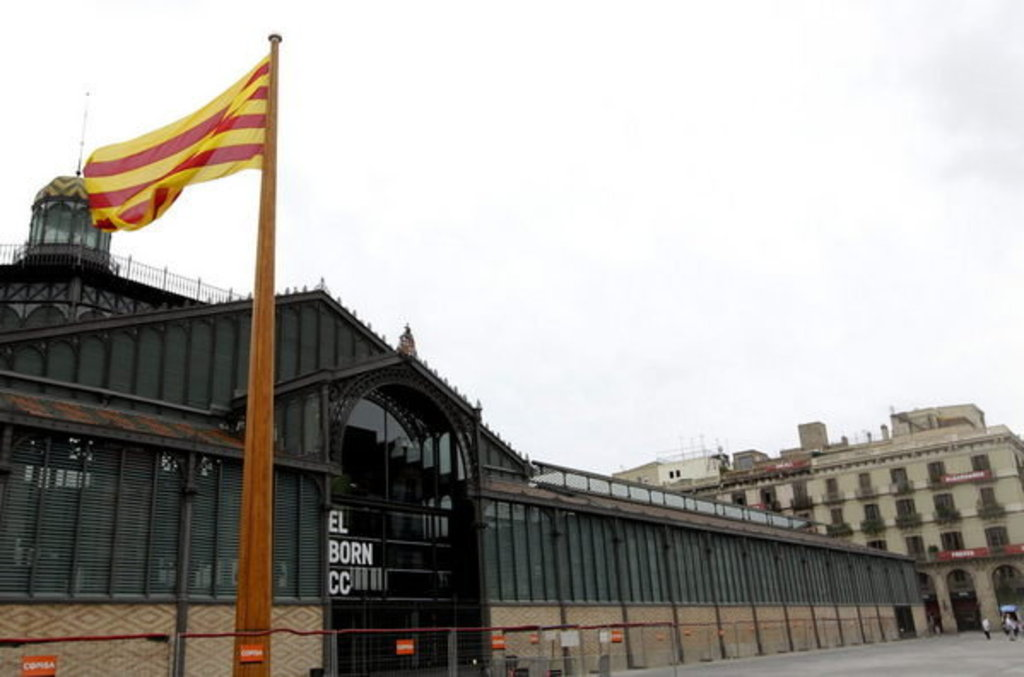 """EL BORN"", Cultural Center with Catalan flag."