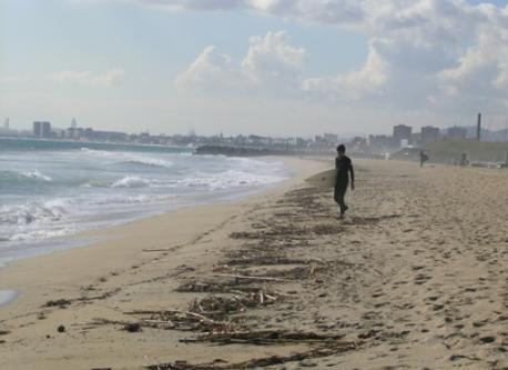 Nice beach in front; At the end the city of Barcelona
