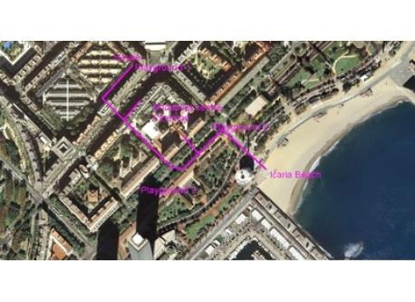 Path map from house to shopping-playground-beach