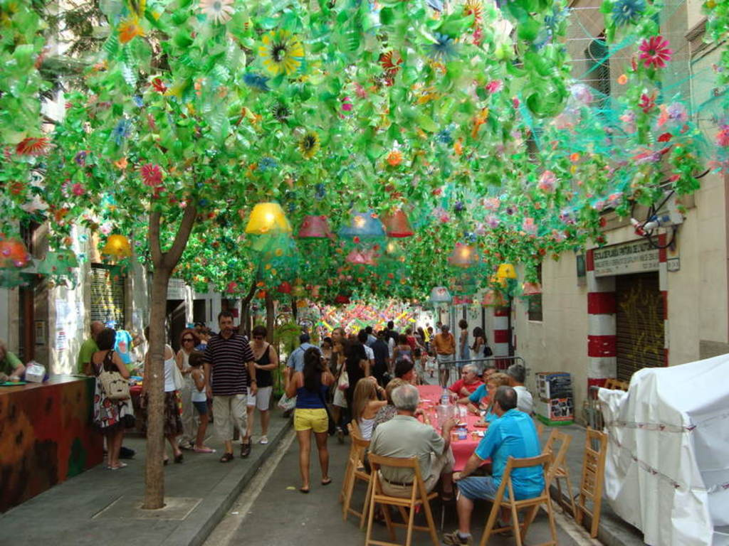 Street in Gràcia during summer festival