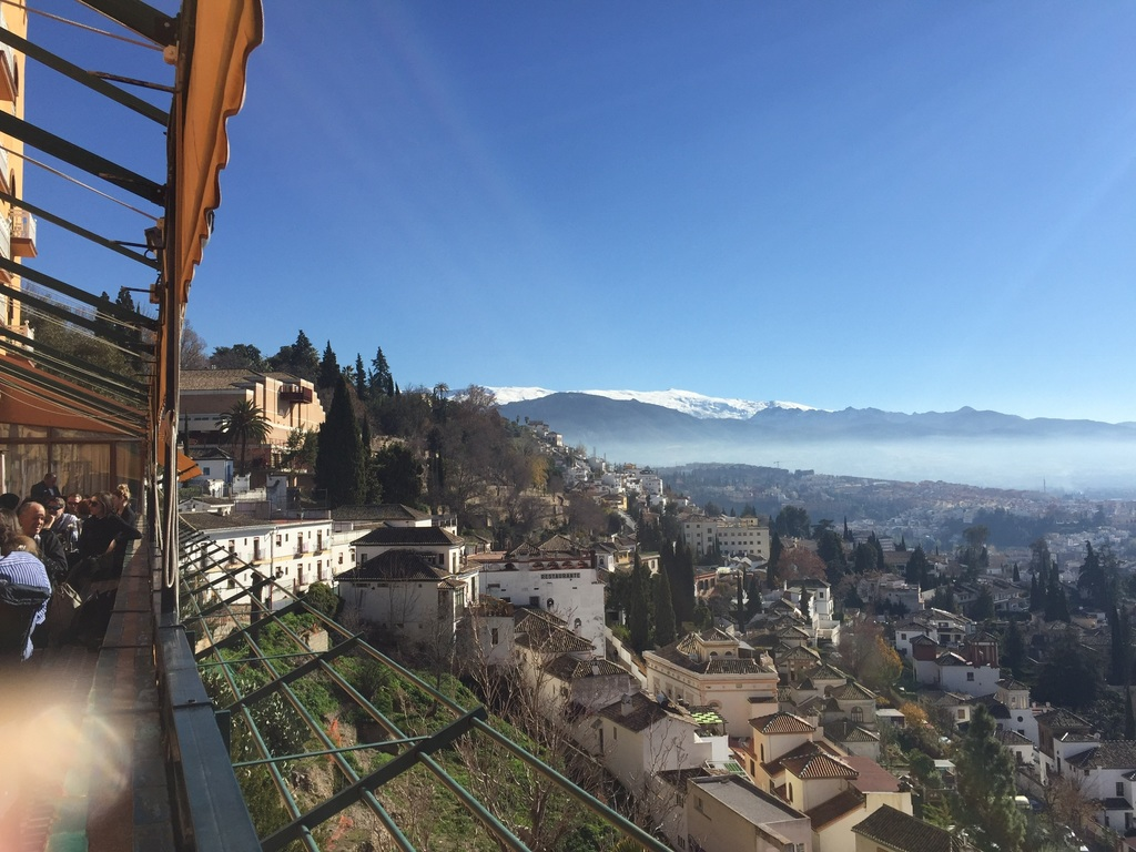 Sierra Nevada Christmas 2016 from Terrace of Alhambra Palace Hotel