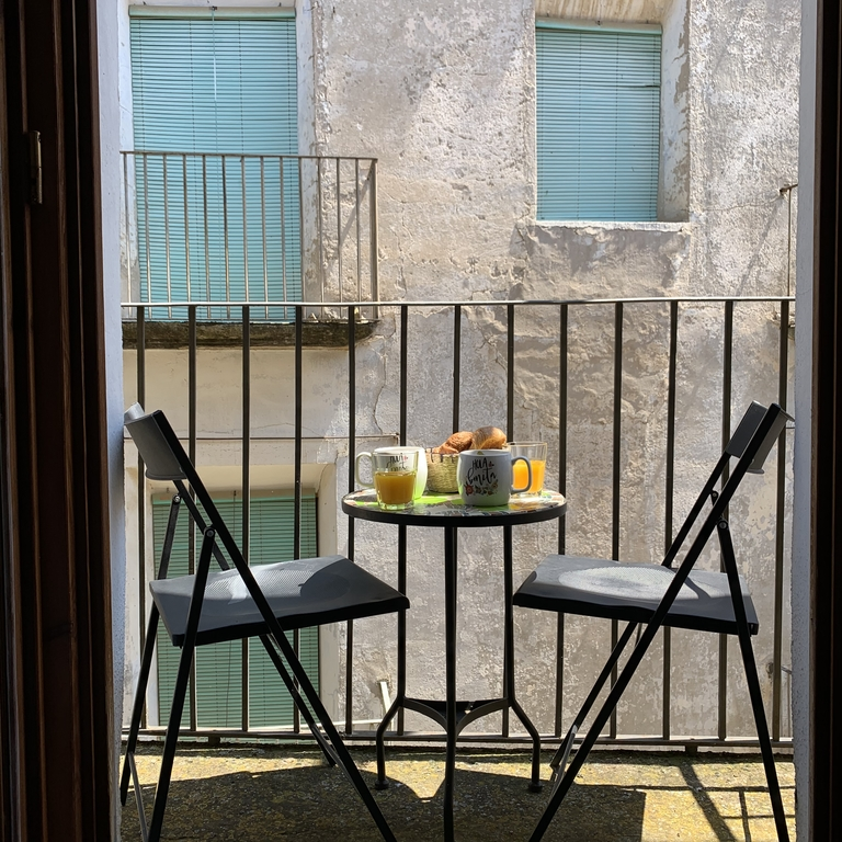 coffee on the Juliet balcony of the Queen Room
