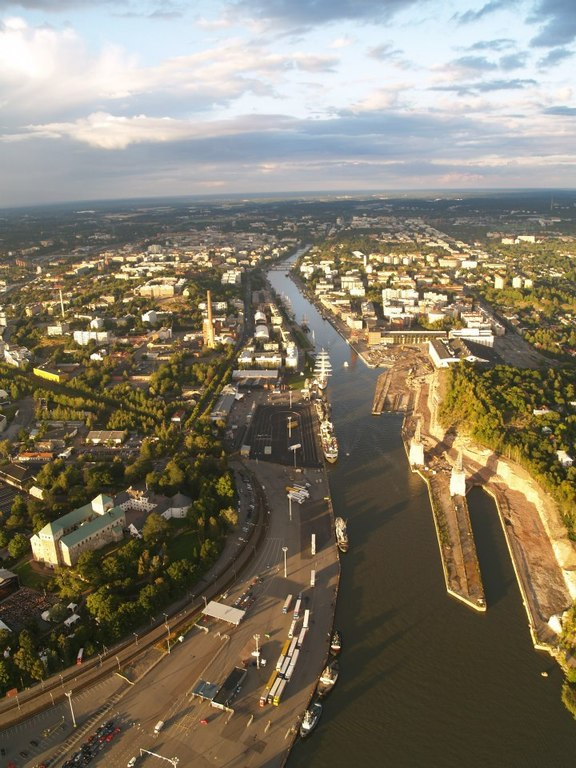 City of Turku and Aura river from hot-air balloon