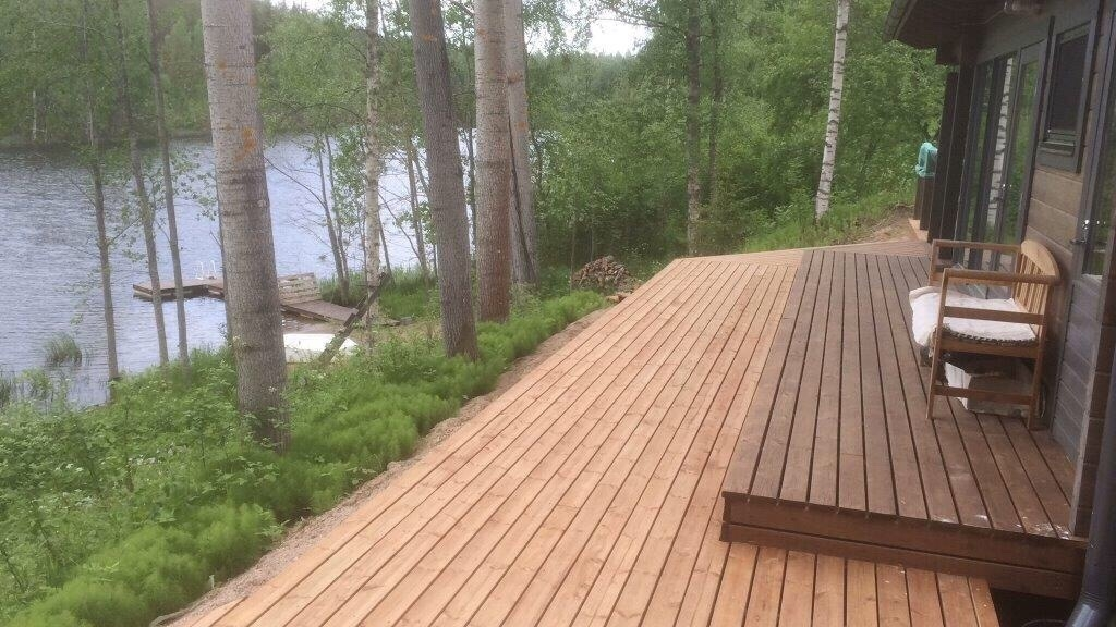 View from cottage patio to pond