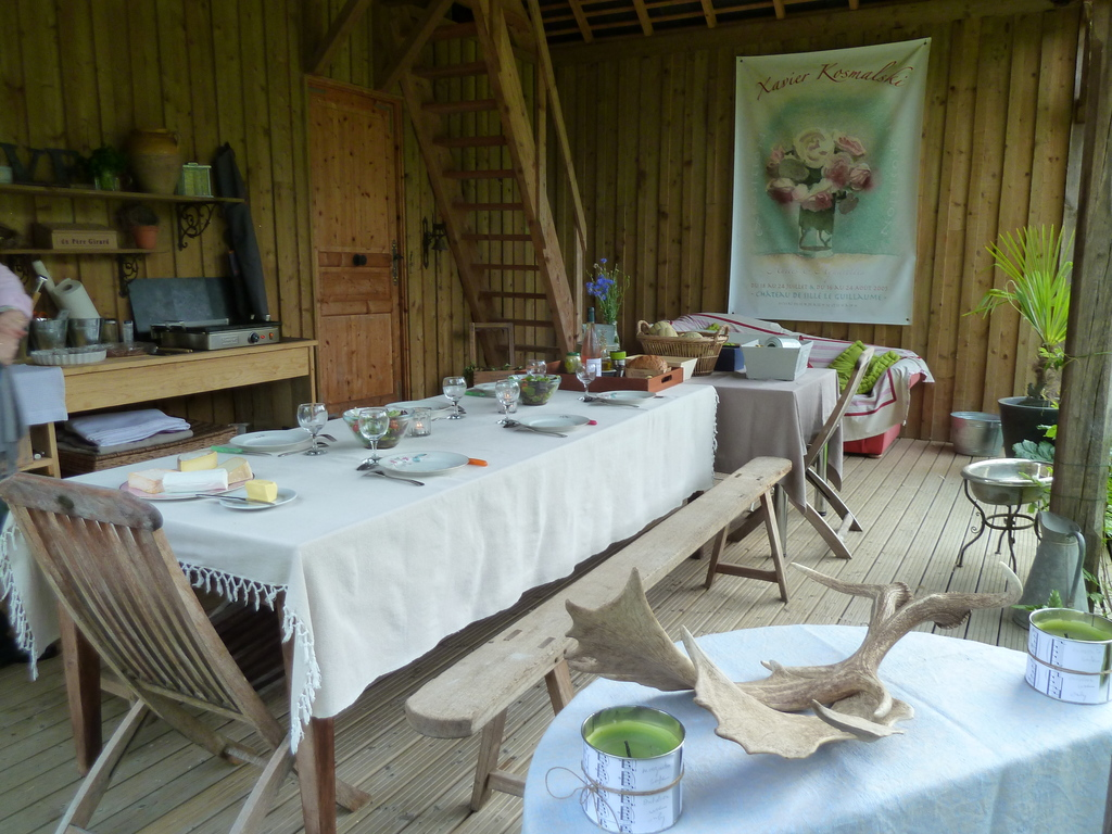 You are welcome, the table is setting under the wooden shed