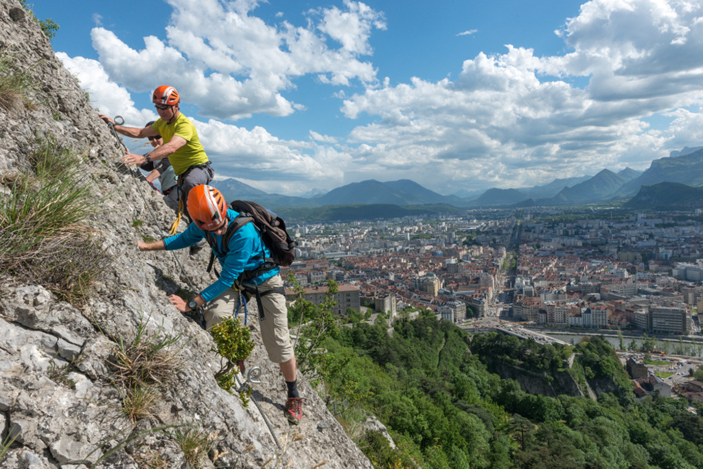 "Via Ferrata, Grenoble, ""La Bastille""."
