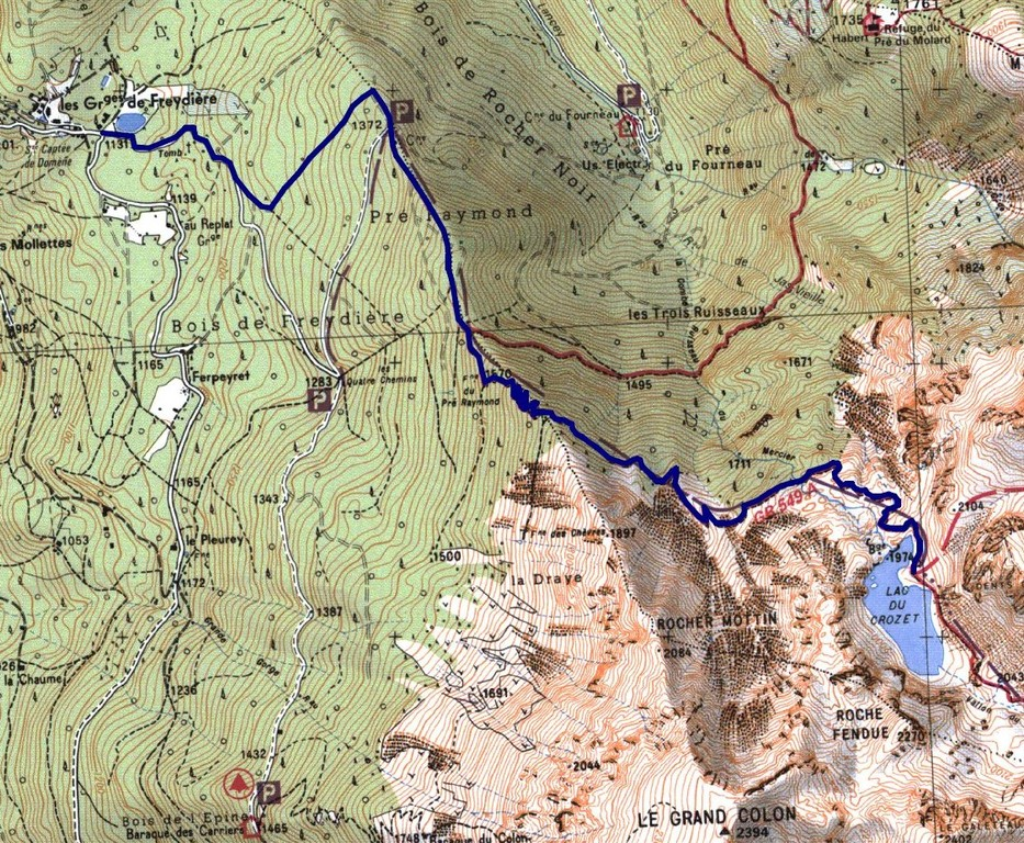 "Map for going to the ""lac du crozet"". Domène  to Freydières and after, easy to go and very beautiful"