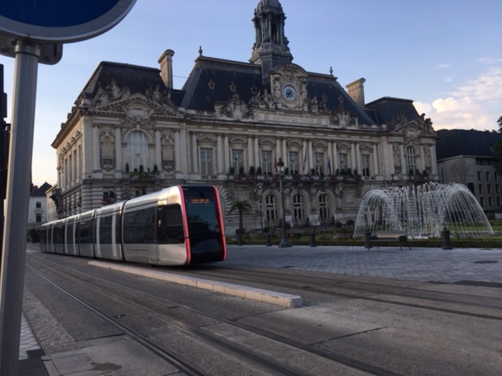 city hall with the tram