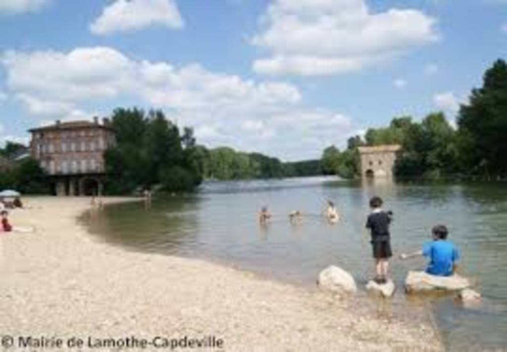 the beach on river Aveyron, in our village