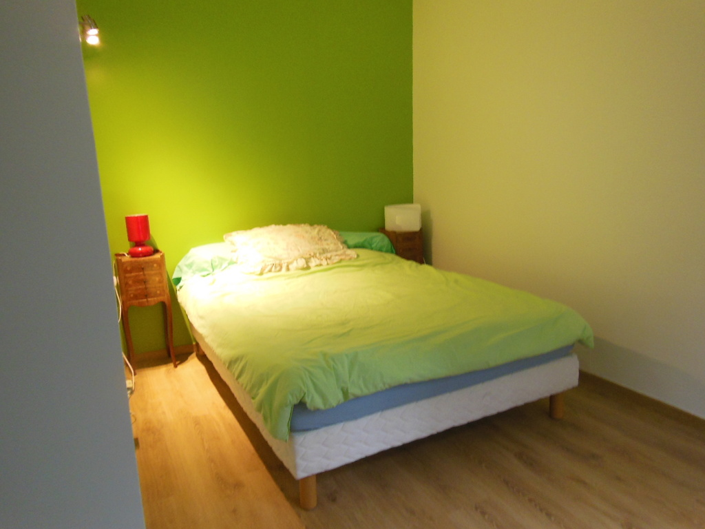 The bedroom with a large bed 140cm