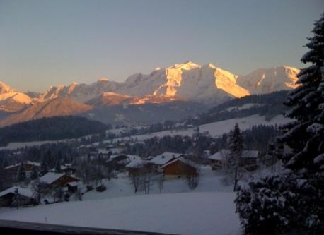 winter sunset on Mont-Blanc from our balcony