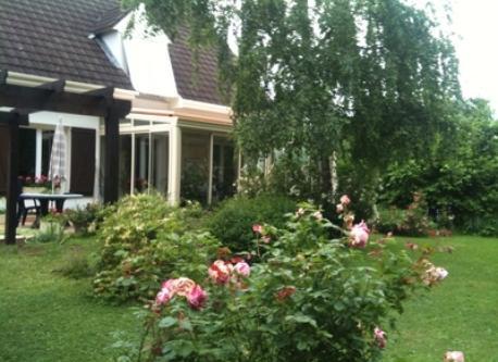 vue maison et jardin au printemps