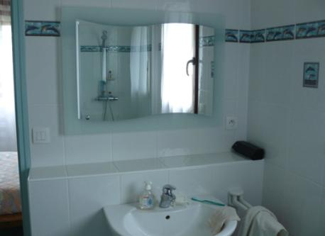 Attached to the bedroom, the private bathroom, with bath and shower.