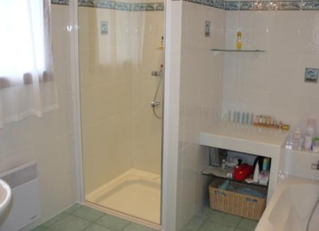 View of the shower, the bath is on the right.