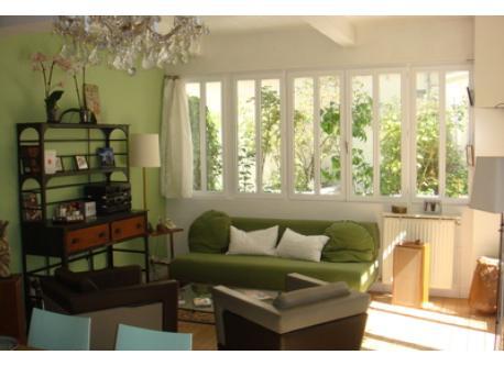 living room: sofa and music corner