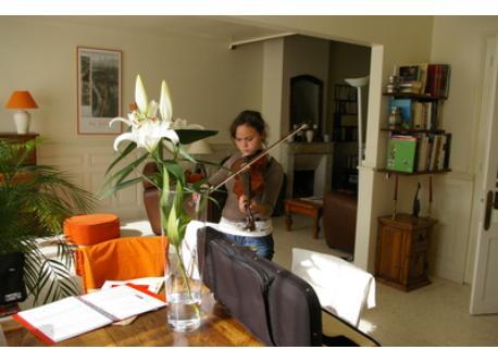 Louise dans notre salon avec son violon. Elle a 14 ans sur la photo.